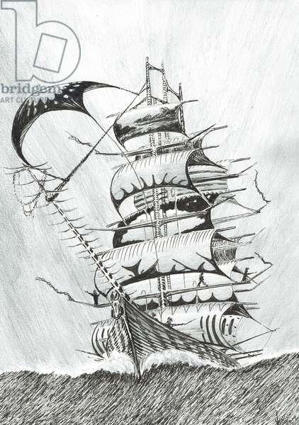 Storm Creators D'urville Sea, 2017, (ink and pencil on Paper)