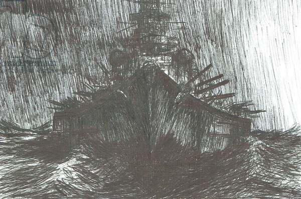 Tirpitz in heavy weather 1942, 2004, (ink on paper)