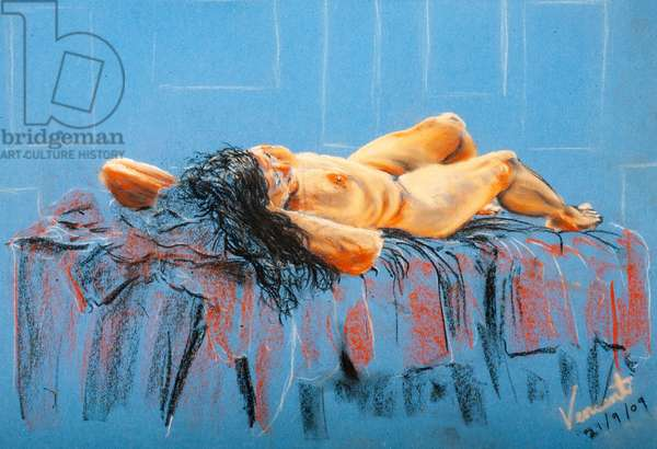 Cool recline, 2009, (pastels on coloured paper)