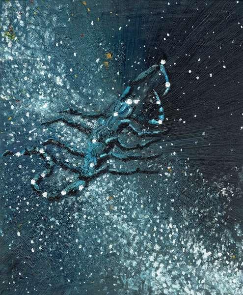 Star sign Scorpio, 2016, (oil on canvas board)