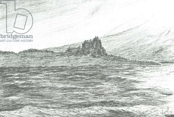 Duart Castle from ferry, 2007 (ink on paper)
