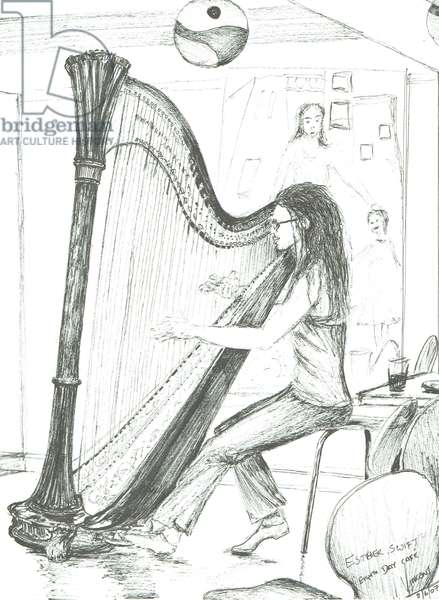The Harpist 8th day cafe Manchester, 2007, (ink on paper)