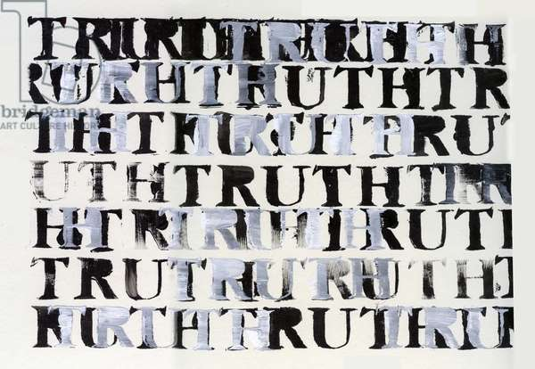The Truth in Black and White, 2015, (acrylic with stencil on card)