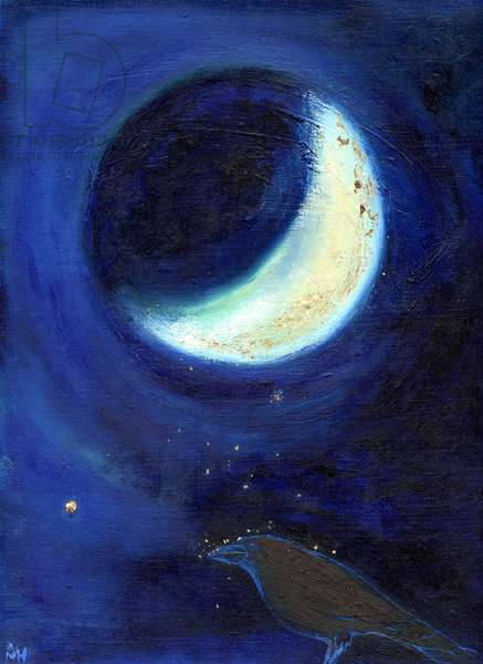 July Moon, 2014, (oil and gold leaf on card)