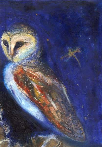 The Owl and the Gold Leaf Dragonfly, 2013, (oil and gold leaf on paper)