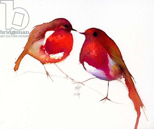 Two Little Ink Birds, 2014, (ink on paper)