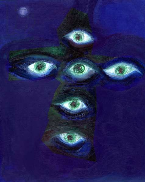 They have eyes and shall not see, 2015, (oil on card)