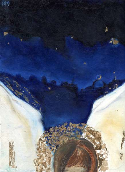 Night the angel got his wings, 2014, (oil & gold leaf on card)