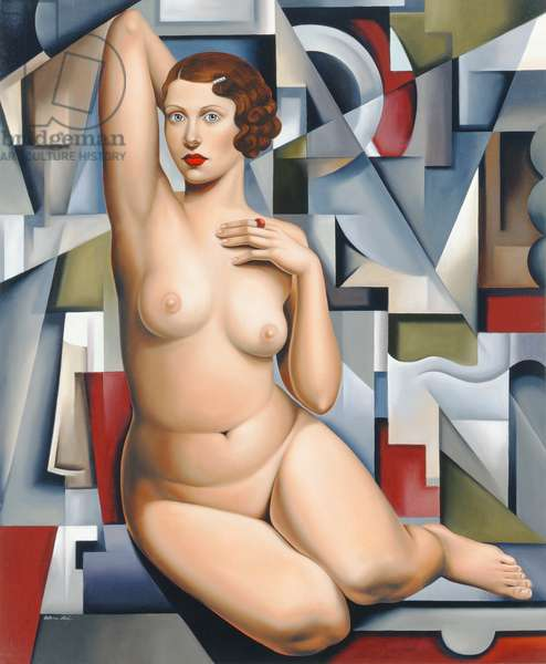 Seated Cubist Nude (oil on canvas)
