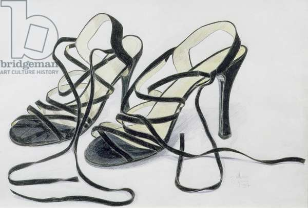Black Strappy Shoes, 1997 (coloured pencil on paper)