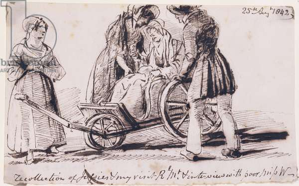 Dorothy Wordsworth (1771-1855) in a Wheelchair, 1842 (ink on paper)