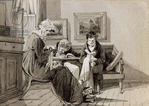Social Interior at Brathay Hall, depicting Jessy Harden, Rev. Owen Lloyd and H. Almack, c.1827 (ink and wash on paper)