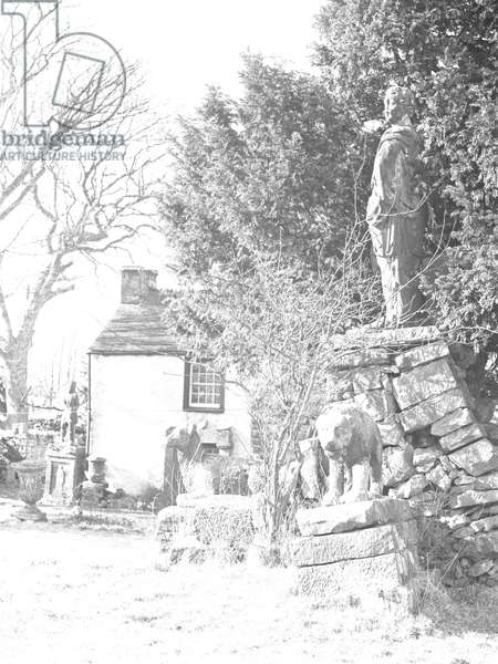 A view of the Italian styled gardens of Yew Tree Farm at Reagill, which was known locally as 'The Image Garden', 1930s-60s (b/w photo)