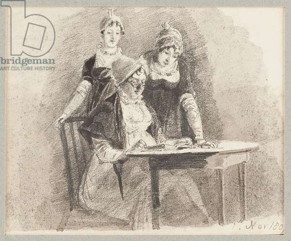 Three at a table, one sitting, 1807 (pencil & wash on paper)