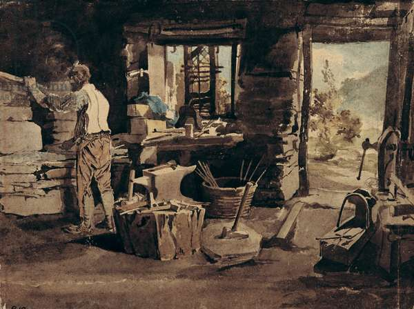 Interior of the Smithy, Ambleside (w/c on paper)