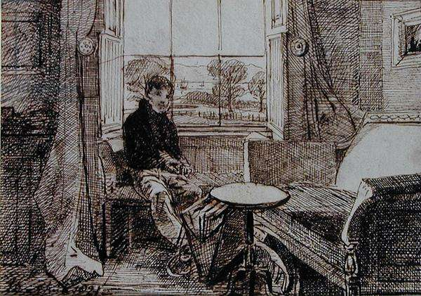 Boy Seated at a Window-Seat (pen and ink on paper)