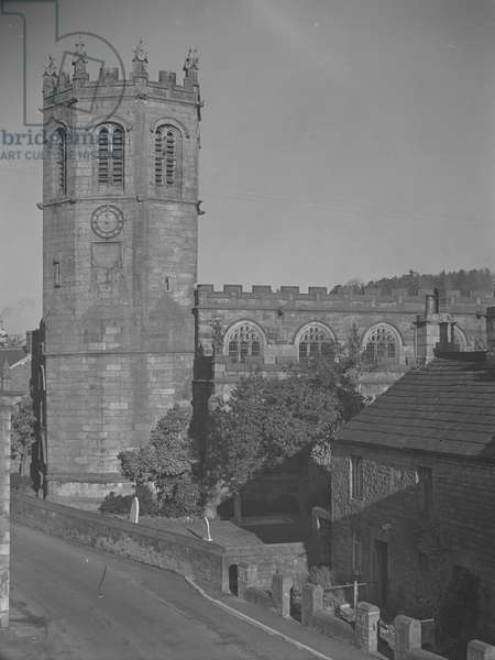 A view of a Sait Margarets church; architecture; religious; ecclesiastical; in Hornby near Lancaster, 1930s-60s (b/w photo)