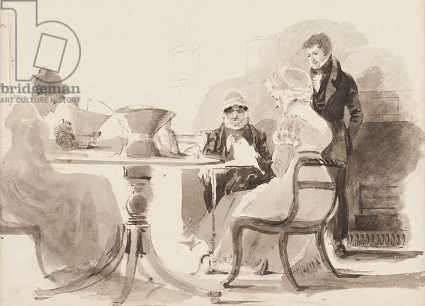 Man standing at a table with three seated women (w/c on paper)