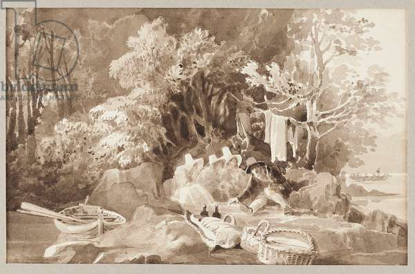 Picnic and Boat (w/c on paper)
