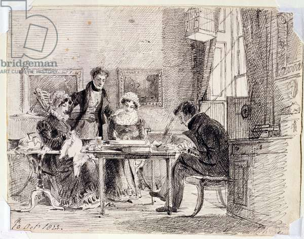 Family group sewing and reading, 10th October 1823 (pen and ink on paper)