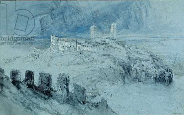 View of Bellinzona (charcoal and w/c wash on paper)
