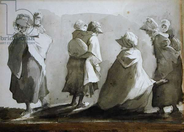 Peasant Women and Children (pen and ink wash on paper)