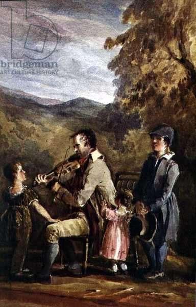 The Blind Fiddler at Brathay (w/c on paper)