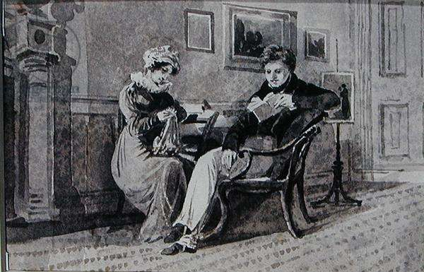 A Couple in their Living Room (pen and ink wash on paper)