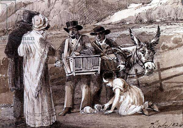 Two men selling guinea pigs, one with an organ grinder, 1824 (pen and ink wash on paper)