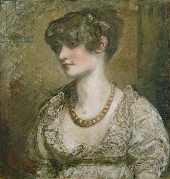 Portrait of a young woman (tempera on paper)
