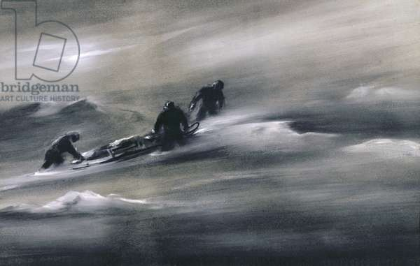 Three men with a Sledge in the Snow, 1910-12 (gouache on paper)