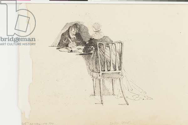 Man and Woman Writing at a Table (pen and ink on paper)