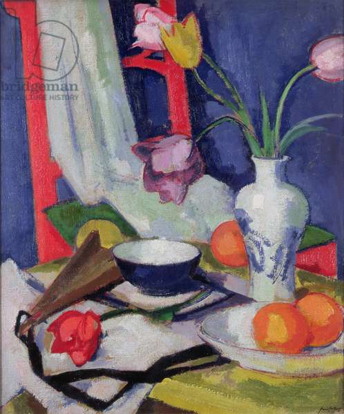 Still life with tulips, 1925 (oil on canvas)
