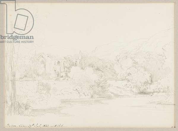 Bolton Abbey, 1832 (pencil on paper)