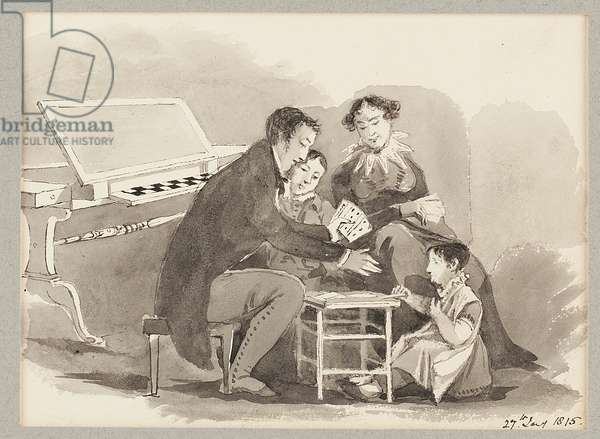 A game of cards, 1815 (w/c on paper)