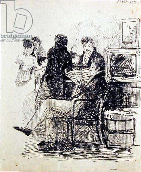 Reading an Musical Score, 1810 (pen and ink on paper)