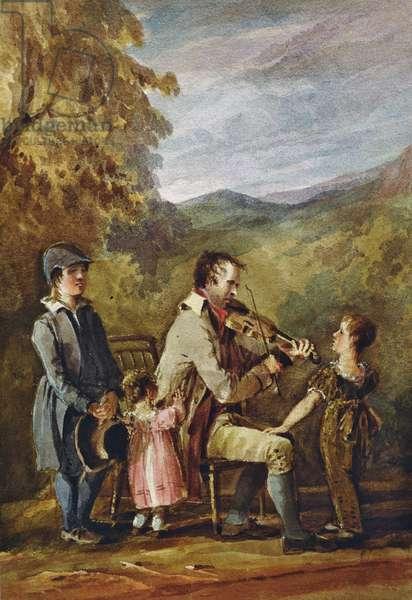 Blind Fiddler (ink and w/c on paper)