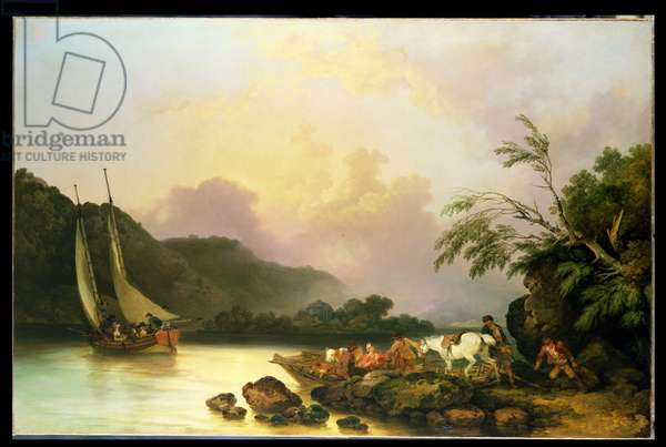 Belle Isle, Windermere, in a Calm, 1786 (oil on canvas)