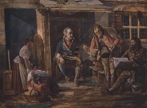 Group including a soldier outside a cottage door (w/c on paper)