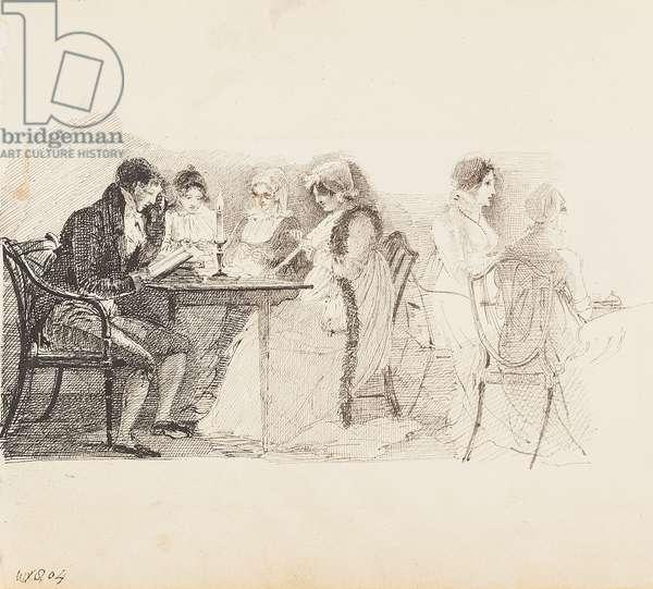 Ibettson reading, 1804 (pen & ink on paper)