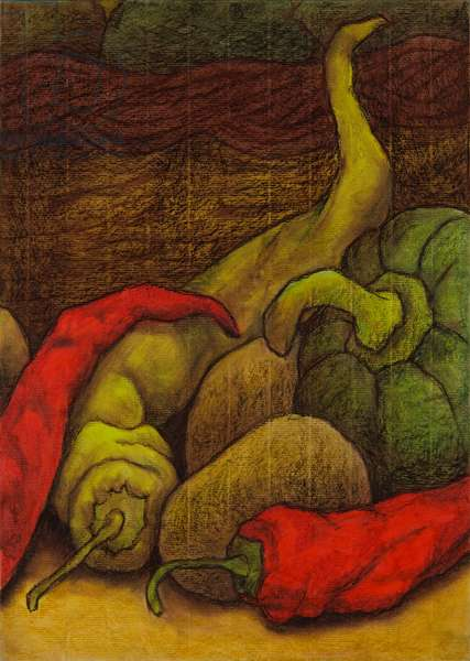 Peppers, 2006 (oil pastel on paper)