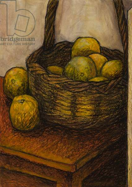 Basket of oranges, 2008 (oil pastel on paper)
