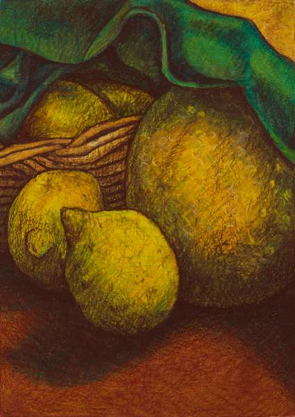 Melons and lemons, 2012 (oil pastel on paper)