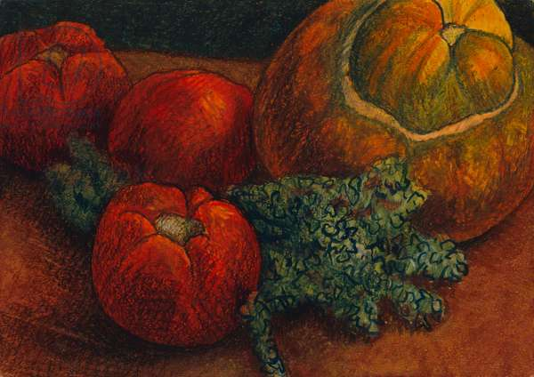 Still life with tomatoes, 2012 (oil pastel on paper)