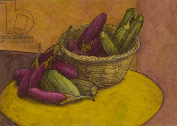 Still life in purple and green, 2006 (oil pastel on paper)