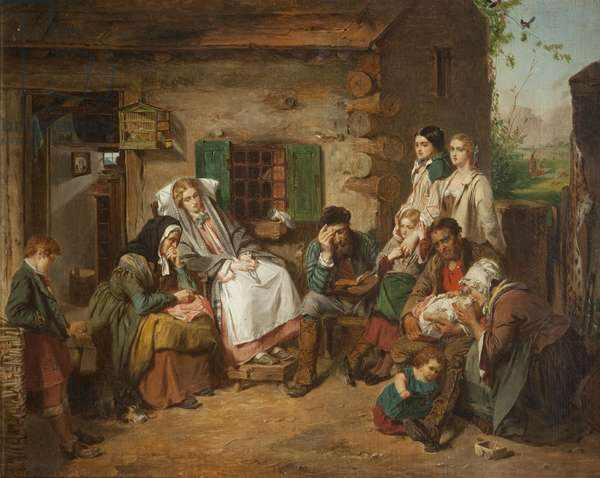 Scottish Settlers in North America (oil on canvas)