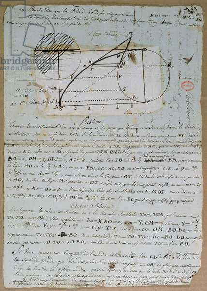 Rectification of the arc of a circle, 8th July 1788 (pen & ink on paper)