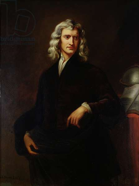 Portrait of Sir Isaac Newton (1642-1727) after an original painting by Sir Godfrey Kneller (1646-1723) 1847 (oil on canvas)