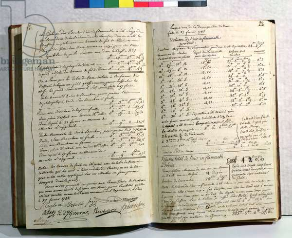 Lavoisier's notes on his experiment on the decomposition of water, 27th February 1785 (pen & ink on paper)