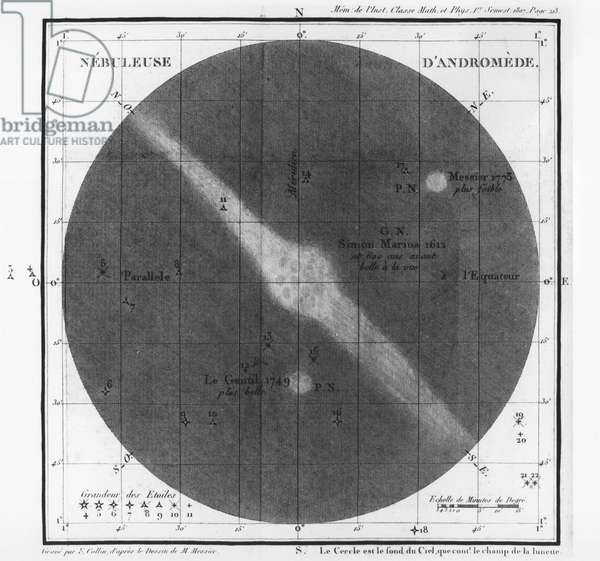 Charles-Joseph Messier (1730-1817) observations of a nebula of Andromeda's belt 1807 (engraving) (b/w photo)